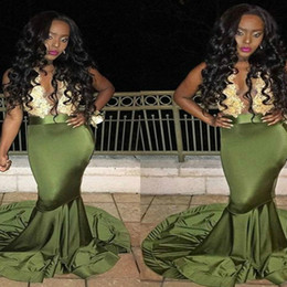 prom dresses sheer tops UK - Olive Mermaid Prom Dresses nigerian Long Top Gold Applique Sheer Sexy transparent Back Formal Summer Evening Gown With train engagement 2018
