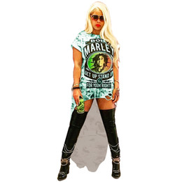 Discount casual ankle length dresses sleeves - Rock Women Tshirt Dresses O-Neck Holes Dresses Lady Summer Digital Printed Clothing Sexy Club Loose Dresses