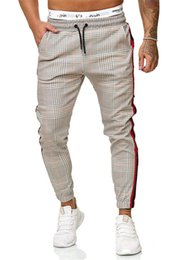 pantalon de couleur masculine achat en gros de-news_sitemap_homeNouveau Hommes Pantalons Houndstooth Imprimer Homme Side Stripes Color Matching Slim Fit Sweatpants Joggers piste Pantalons Salopette