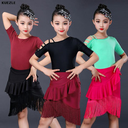 tango dancewear UK - ballroom competition dresses tango girls red latin dance costumes children dancewear dance costume dresses fringe tops and skirt