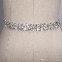 Fait à la main en cristal Ceintures de mariage d'or d'argent strass mariage robe de ceinture Accessoires de mariage formel ruban de mariée Sash Ceinture CPA1393 en Solde