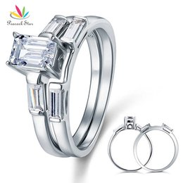 $enCountryForm.capitalKeyWord Australia - 1 Ct 2-Pcs Wedding Engagement Sterling Solid 925 Silver Ring Set Jewelry CFR8029 Dropshipping Service Available