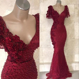 Short White Pearl Prom Australia - 2019 New Luxury Burgundy Mermaid Evening Dresses Wear V Neck 3D Flowers Pearls Short Sleeves Backless Floor Length Party Pageant Prom Gowns