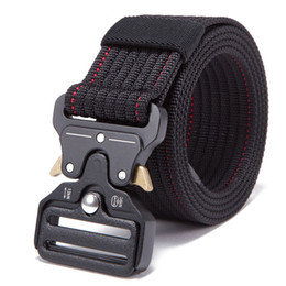 Wholesale New Mens Adjustable Tactical Belt Heavy Duty Nylon Waist Belt Metal Buckle Outdoor Hunting Training Patrol Combat Belts