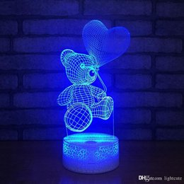 baby cartoon night lamp NZ - Remote 16 Colors Cartoon Cute Heart Bear Shape 3D Lights Christmas Acrylic LED Lamp 7 Color Changing 3D Baby Sleeping Night Light Kids Gift