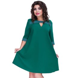 e5134287e84 Plus Size Dresses for Women 4xl 5xl 6xl Women Big Size Loose Dress Lace  Splice Half Sleeve O-Neck Elegant Midi Party Dress Green