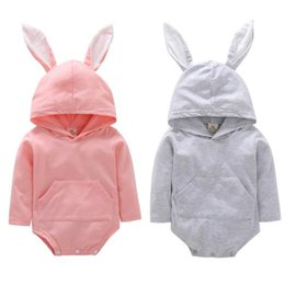 Discount baby rabbit jumpsuit - INS Baby Rabbit Romper Hooded Bunny Ear Easter Jumpsuits Long Sleeves Cartoon Toddler Rompers 2 colors MMA1394 60pcs