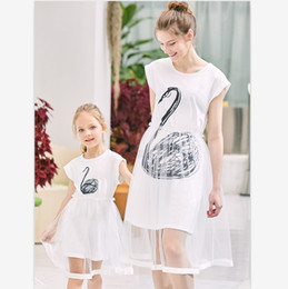 $enCountryForm.capitalKeyWord Australia - Fashion Family Matching Clothes Mother Daughter Dresses Women Swan Tulle Dress Baby Girl Mini Dress Mom Baby Girl Party Clothes 2 Colors