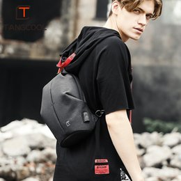 Ipad Mini Pack Australia - Men Casual Travel bag for male Chest Bag Pack Anti Theft USB waterproof Shoulder Crossbody bags for Teenage boy Mini Ipad