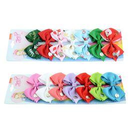 $enCountryForm.capitalKeyWord Australia - 7 pcs set Christmas JOJO bow bowknot baby girls sequin hair bows barrettes rainbow clippers hair clips jojo hair accessory for kids 2018