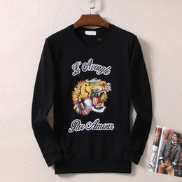 Velour hoodie online shopping - 2019 New Style Tiger Head Embroidered Popular Brand Mens Hoodie Spring New Mens Round Collar Long Sleeve coat