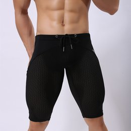 Discount yellow swimming tights - Men Swim underwear Black White tight sexy Swimsuits Surf Boardshorts Beach gym pants Man swimwear Trunks sport Shorts
