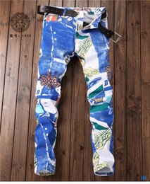 European Street Painting Australia - European fashion designer men's skinny jeans color street clothing colorful paint stitching jeans men's trend color riding