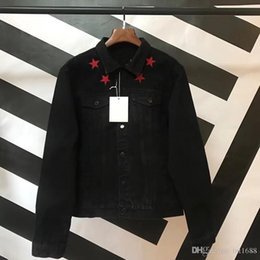 Chaqueta jeans online shopping - 2018 Fashion Jacket Mens Red Five pointed Star Casual Slim Fit Bomber Jacket Men Autumn Winter Jean Jacket Mens Cowboy Chaqueta Coat Couple
