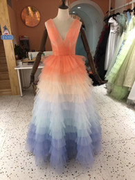 drape clothes NZ - 2019 Sexy A-Line V-Neck Rainbow Color Floor Length Corset Back Draped Cascading Ruffle Prom Dresses Tulle Quinceanera Gowns Women Clothing
