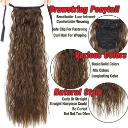 Hair Extensions Tail Australia - Pageup Long Afro Curly Drawstring Ponytail Synthetic Hairpiece Pony Tail Hair Piece For Women Fake Bun Clip In Hair Extension