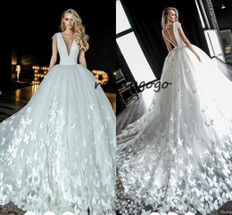 $enCountryForm.capitalKeyWord NZ - Cathedral Train Puffy Skirt Princess Wedding Dresses 2019 Cap Sleeve Full 3D Floral Butterfly Church Garden Royal Wedding Bridal Gown