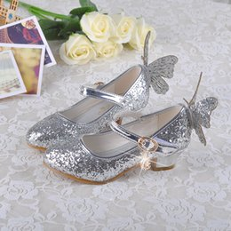 communion shoes Australia - Lovely Gold Silver Blue Pink 2.5cm Heels Girls' Shoes Princess Shoes Girl's Heels Shoes Kids' Shoes Kids' Accessories SIZE 26-38 HMM021