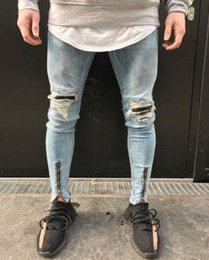 Wholesale mo jeans for sale - Group buy France Style Men Mo to Biker Jeans Straight Slim Fit Denim Pants Distressed Blue