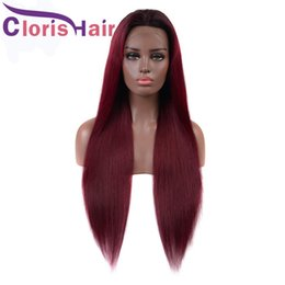 burgundy brown hair color black women 2019 - Pre Plucked 99j Burgundy Lace Front Wigs Glueless Brazilian Straight Human Hair Wig For Black Women Colored Wine Red Bra