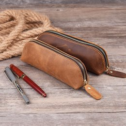 $enCountryForm.capitalKeyWord Australia - Creative gift of hand-made Vintage top-grade leather pen pencil case zippered pen bag pouch holder organizer
