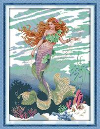 $enCountryForm.capitalKeyWord Australia - Mermaid beautiful girl home decor painting ,Handmade Cross Stitch Embroidery Needlework sets counted print on canvas DMC 14CT  11CT