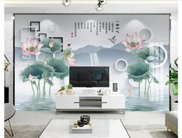 chinese hand paintings Australia - 3D wallpapers custom photo mural wall paper New Chinese-style hand-painted lotus squid 3D stereo TV background wall papel de parede