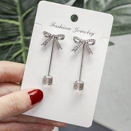 simple nail styles Australia - S925 Pure Silver Needle Korean style Butterfly Knot Ear Nails Female Personality Simple Earrings Temperament Long Cute Earring