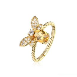 crystal citrine gemstone NZ - Trendy Vivid Bee 925 Sterling Silver Citrine Pink Crystal Rings Bands for Women Female Upscale Natural Gemstone Jewelry Gift