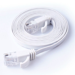 Discount network computer cables - CAT6 RJ45 Flat Ethernet Cable Twisted Pair 1m 3m 10m 20m Computer Network Cable Cat6 For ADSL HUB Camera Router ATM UTP