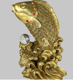 Crystal Lighting China Australia - NEW China Fengshui Bronze Fish Crystal Bead Lucky Blessing Statue R0713