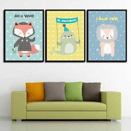 Art Canvas Prints Australia - Wall Picture Paintings Vintage Cartoon Animal Simple Nordic Abstract Canvas Art Print HD Poster Living Room Home Decoration