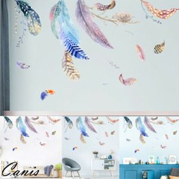 Bird Wall Stickers Australia - Fashion Novelty Flying Birds Feather Wall Sticker 2PCS Colorful Bedroom Decoration Wall Decal