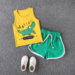 $enCountryForm.capitalKeyWord Australia - Toddler Boys Summer Clothes Cartoon Shark Vests Clothes Suit Baby Sleeveless T shirt Casual Outfit Kid Boy Letter Cotton Clothes