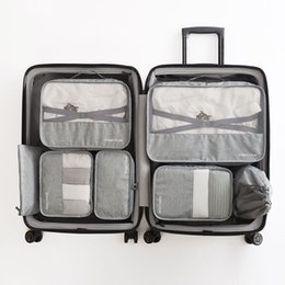 Pack Set Australia - High-grade 7pcs set Suitcase Organizer Koffer Organizer Sets Luggage Laundry Pouch Packing Set Storage Bag for Clothes