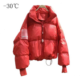 Wholesale black puffer jackets for sale - Group buy 2019 Winter Red Warm Short Jackets Women s Cotton Padded Puffer Coats Girls Stand Collar Anorak Jacket Black Oversized Outwear Y190827