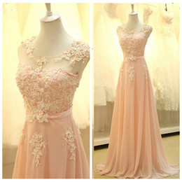 Chiffon Bridesmaid Dress Beaded Sleeves Australia - 2019 Sheer Scoop Short Sleeves Lace Appliques A-Line Bridesmaids Dresses Beaded Long Chiffon Vestidos De Bridesmaid Honor Of Maid Cheap