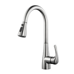 Kitchen Pull Handles Australia - Pull Out Kitchen Faucets Deck Mounted 304SUS Kitchen Sink Faucet Hot Cold Mixer Taps Brushed Water Tap Single Handle