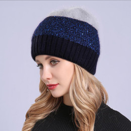 $enCountryForm.capitalKeyWord Australia - Sequins Double layer Stitching Color Rabbit Knitted Thick Winter Hats For Women's Hat Female Caps Girls Skullies Beanies