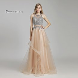 Sheer wedding dreSSeS nude online shopping - 2019 Luxury Nude Royal Blue A Line Tulle Crystals Lace Graduation Prom Dress Floor Length Beading Sleeveless Evening Party Gowns LX490