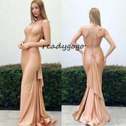 $enCountryForm.capitalKeyWord Australia - Champagne Nude Mermaid Prom Formal Dresses 2019 Spaghetti Backless Simple Design Stain Full length Fishtail Prom Cocktail Gown