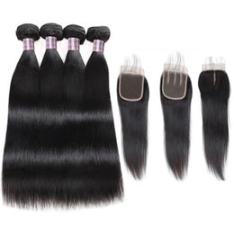 $enCountryForm.capitalKeyWord UK - Brazilian Deep Wave Human Hair Bundles With Closure Peruvian Hair 4 Bundles Malaysian Body Wave Deep Loose Hair Extensions