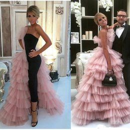$enCountryForm.capitalKeyWord Australia - Unique Design Black Jumpsuits Prom Dresses With Pink Tulle Tiered 2019 Couture High Quality Puffy Long Evening Formal Gowns Women Party Wear