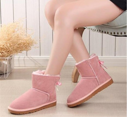 Discount flat bow lace shoes - 2018 women australie winter boots women shoes bota mujer leather shoes women boots australia ankle snow boots bow lace p