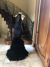 Tulle Feathered Prom Dresses Australia - Gorgeous Black Prom Dresses Mermaid African Applique Sequins Prom Gowns Feather Pageant Party Dress Robe De Soiree Formal Evening Dresses
