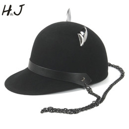 c19ce384c2562 100% Wool Women Black Baseball Hat With Punk Chain Lady Devil Horns Cute Cat  Ear Animal Derby Bowler lovely Visor Cap  319680