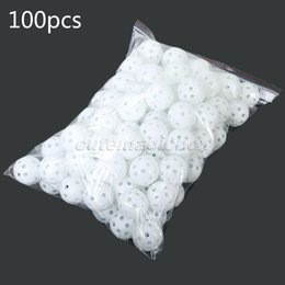 balls pack Australia - Wholesale- White 100Pcs Pack Plastic Whiffle Airflow Hollow Golf Balls Practice Golf Balls Training Sports Golf Accessories Aids Tool Clubs