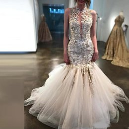 $enCountryForm.capitalKeyWord Australia - Gorgeous High Neck Mermaid Wedding Dresses Appliques Beads Tulle Bridal Gowns Leaves Decorations Tiered Skirts Wedding Gowns