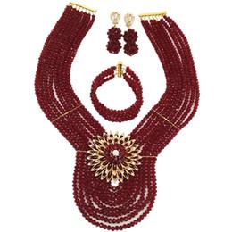 $enCountryForm.capitalKeyWord UK - Fashion Wine African Beads Jewelry Set Crystal Necklace Bracelet Earrings Sets 8WD03