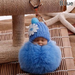 6585f423be 1PC Fashion Kawii Sleep Baby Doll Key Chains Rabbit Fur Ball Car Keyring  Holder Bag Car Key Pendant Cute Women